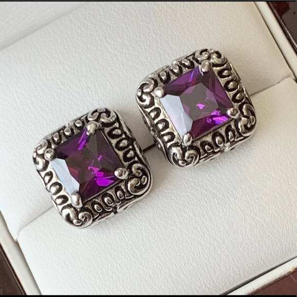 Jewelry - Artisan Scroll Square Amethyst Earrings